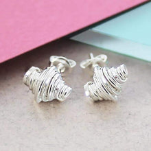 Load image into Gallery viewer, Handmade Silver Coil Stud Earrings - Pobjoy Diamonds