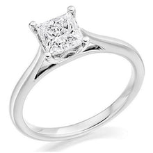 Load image into Gallery viewer, 18K White Gold Princess Cut Solitaire Diamond Ring 1.20 Carat - F/VS2