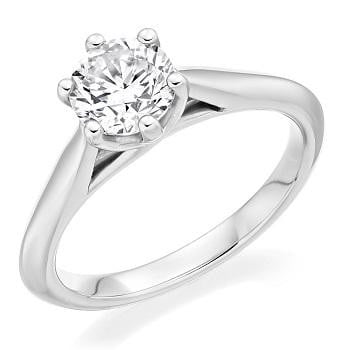 950 Palladium 1.00 Carat Round Brilliant Cut Solitaire Diamond Ring G/Si1-Bellagio - Pobjoy Diamonds