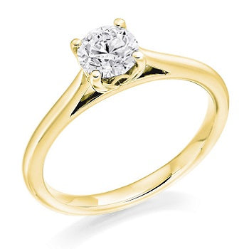 18K Yellow Gold 0.70 Carat Round Brilliant Cut Solitaire Lab GrownDiamond Ring G/Si1