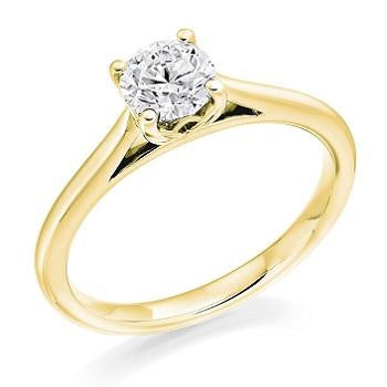 9K Gold 0.50 Carat Round Brilliant Cut Solitaire Lab Grown Diamond Ring G/Si1 - Pobjoy Diamonds