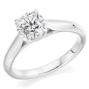 950 Platinum Round Brilliant Cut Bespoke Diamond Solitaire Ring 0.90 Carat F/VS2