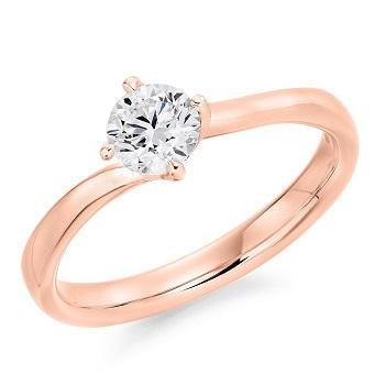 14K Rose Gold 0.50 Carat Round Brilliant Cut Solitaire Lab Grown Diamond Ring I/VS2+ - Pobjoy Diamonds