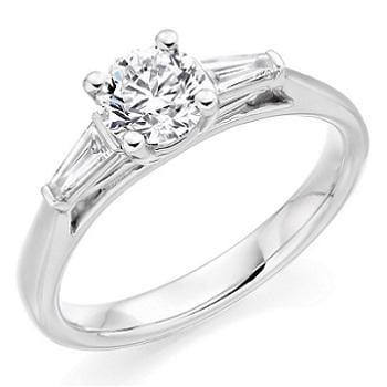 950 Platinum Solitaire & Baguette Diamond Engagement Ring 1.10 CTW E/VVS1 - Pobjoy Diamonds