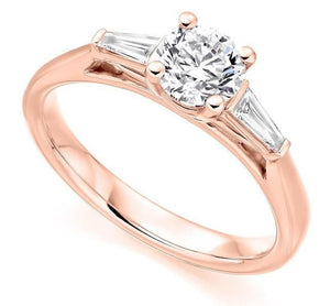 18K Rose Gold Solitaire & Baguette Diamond Engagement Ring 1.10 CTW G/Si1 - Pobjoy Diamonds