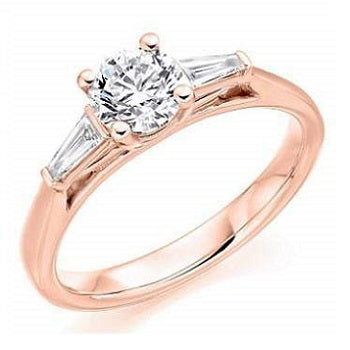 18K Rose Gold Solitaire & Baguette Diamond Engagement Ring 1.10 CTW G/Si1