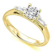 Load image into Gallery viewer, 18K Yellow Gold Solitaire & Baguette Diamond Engagement Ring 1.10 CTW F/VS1 - Pobjoy Diamonds
