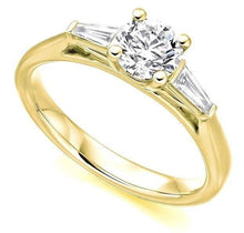 Load image into Gallery viewer, 18K Yellow Gold Solitaire & Baguette Diamond Engagement Ring 1.10 CTW G/Si1 - Pobjoy Diamonds