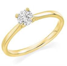 Load image into Gallery viewer, 18K Yellow Gold 0.75 Carat Round Brilliant Cut Solitaire Diamond Ring-Pobjoy Diamonds