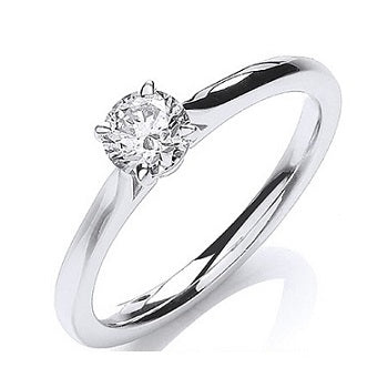18K White Gold 0.40 Carat Round Brilliant Cut Solitaire Diamond Ring G/VS1-Pobjoy Diamonds