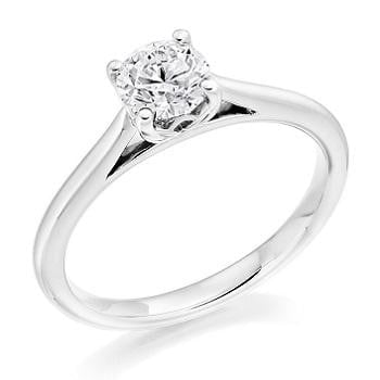 18K White Gold 0.50 Carat Diamond Solitaire Engagement Ring - Arundel - Choice Of Grade - Pobjoy Diamonds