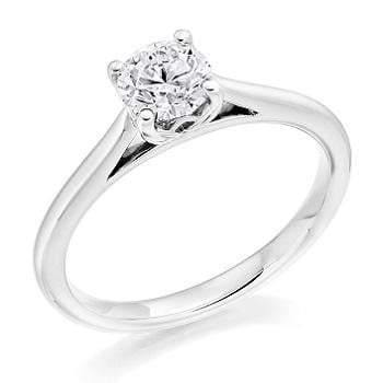 18K White Gold 0.40 Carat Round Brilliant Cut Lab Grown Solitaire Diamond Ring E/VS1 - Pobjoy Diamonds