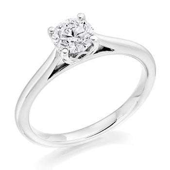 9K White Gold 0.40 Carat Round Brilliant Cut Lab Grown Diamond Ring F/VS1 - Pobjoy Diamonds