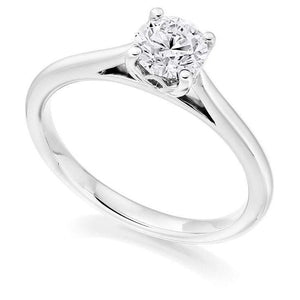 950 Platinum 0.50 Carat Round Brilliant Cut Solitaire Diamond Ring-Arundel H/Si - Pobjoy Diamonds