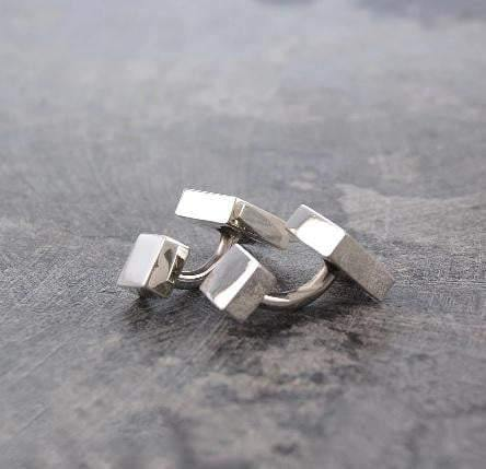 Sterling Silver Handmade Mens Square Cufflinks From Pobjoy