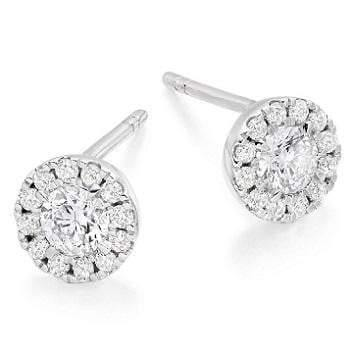 Pave Round Diamond Stud Earrings 0.50 CTW In 18K Gold-Pobjoy Diamonds