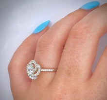 Load image into Gallery viewer, 950 Palladium Diamond Halo & Shoulders Cluster Engagement Ring 0.95 CTW