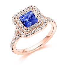 Load image into Gallery viewer, 18K Rose Gold Tanzanite & Double Diamond Halo Ring 1.60 CTW - Pobjoy Diamonds