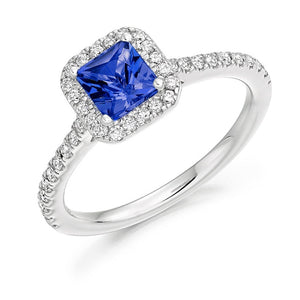 18K White Gold Princess Cut Tanzanite & Diamond Ring By Pobjoy Diamonds