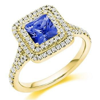 18K Yellow Gold Tanzanite & Double Diamond Halo Ring 1.60 CTW - Pobjoy Diamonds