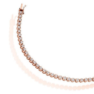 18K Rose Gold Ladies Round Brilliant Cut 2.00 CTW Diamond Tennis Bracelet