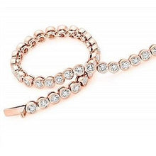 Load image into Gallery viewer, 18K Rose Gold Round Brilliant Cut Diamond Tennis Bracelet 4.0 CTW