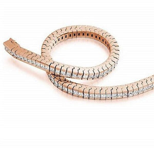 18K Rose Gold Princess Cut Diamond Tennis Bracelet 4.5 CTW G/Si