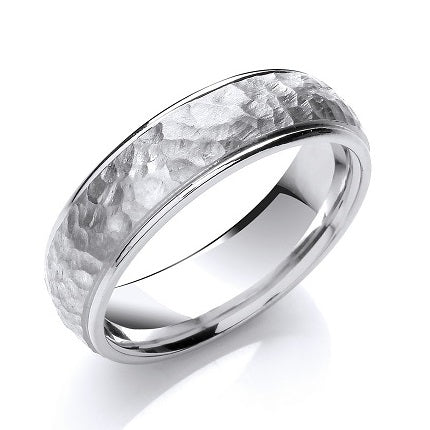 18K White Gold Hammered & Smooth 6mm Wedding Band