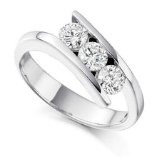 Load image into Gallery viewer, 950 Platinum Tension Set Diamond Trilogy Ring - 0.75 CTW - Pobjoy Diamonds