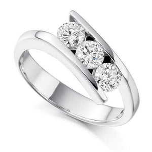 950 Platinum Tension Set Diamond Trilogy Ring - 0.75 CTW - Pobjoy Diamonds