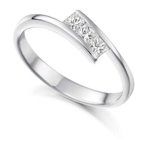 18K White Gold Princess Cut Diamond Trilogy Ring 0.26 CTW - Pobjoy Diamonds