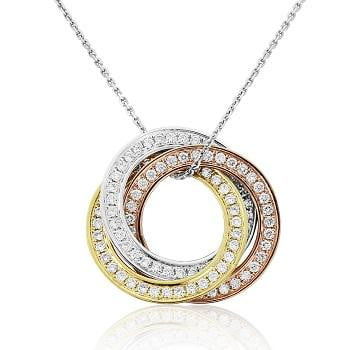 18K White, Yellow & Rose Gold Diamond Circle Pendant 0.50 CTW - Pobjoy Diamonds