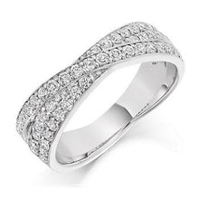 Load image into Gallery viewer, 950 Platinum Diamond Twist 950 Palladium Diamond Twist Half 950 Palladium Diamond Twist Half Eternity Ring 0.70 CTW-Pobjoy Diamonds