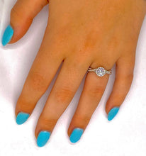 Load image into Gallery viewer, 950 Palladium 1.30 CTW Diamond Halo & Shoulder Ring