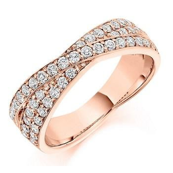 18K Rose Gold Diamond Twist Half Eternity Ring 0.70 CTW-Pobjoy Diamonds
