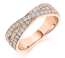 Load image into Gallery viewer, 18K Rose Gold Diamond Twist Half Eternity Ring 0.70 CTW-Pobjoy E-Boutique
