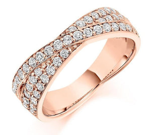 18K Rose Gold Diamond Twist Half Eternity Ring 0.70 CTW-Pobjoy E-Boutique