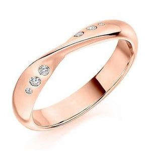 18K Rose Gold 0.10 CTW Diamond Twisted Half Eternity Ring - Pobjoy Diamonds