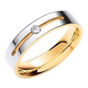 18K Or 9K White & Yellow Gold Flat Court Diamond Wedding Band