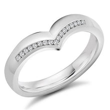 Load image into Gallery viewer, 18K White Gold Half Eternity V-Ring 0.08 CTW
