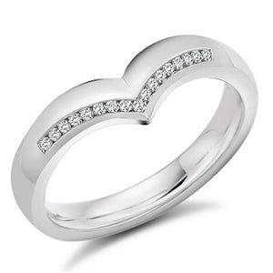 18K White Gold Half Eternity V-Ring 0.08 CTW