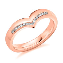 Load image into Gallery viewer, 18K Rose Gold Half Eternity V-Ring 0.08 CTW