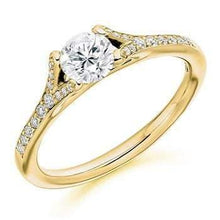Load image into Gallery viewer, 18K Gold & Diamond Set Shoulder Solitaire Engagement Ring Pobjoy Diamonds