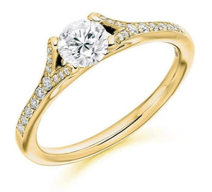 18K Gold & Diamond Set Shoulder Engagement Ring 0.70 CTW F-G/VS - Pobjoy Diamonds