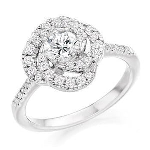 950 Platinum Diamond Halo & Shoulders Ring 0.95 CTW- Pobjoy Diamonds