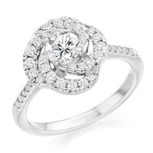 Load image into Gallery viewer, 950 Palladium Diamond Halo & Shoulders Cluster Engagement Ring 0.95 CTW - Pobjoy Diamonds