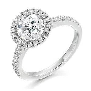 18K White Gold Round Cut 1.90 CTW Halo Diamond Ring G/VS - Pobjoy Diamonds