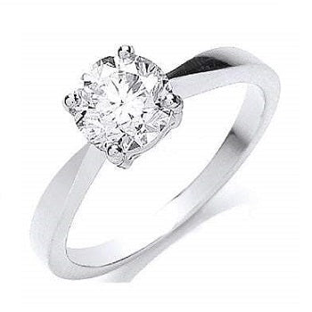 18K White Gold 1.00 Carat Solitaire Ring H/Si-Formentera