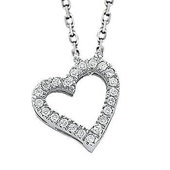Pobjoy 9K White Gold & Diamond Heart Pendant With 18'' Chain