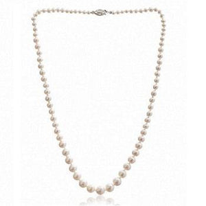 Graduated White Freshwater Cultured Pearl Necklace From Pobjoy